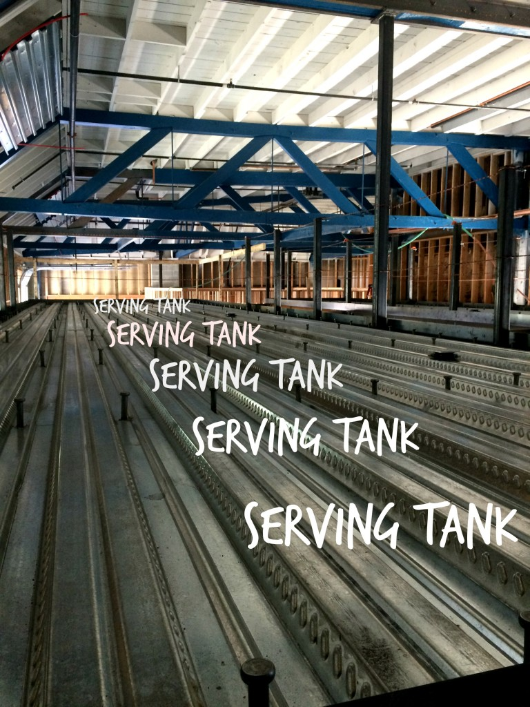 Serving tank upstairs