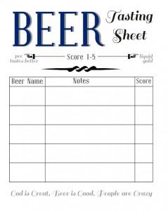 beer tasting card